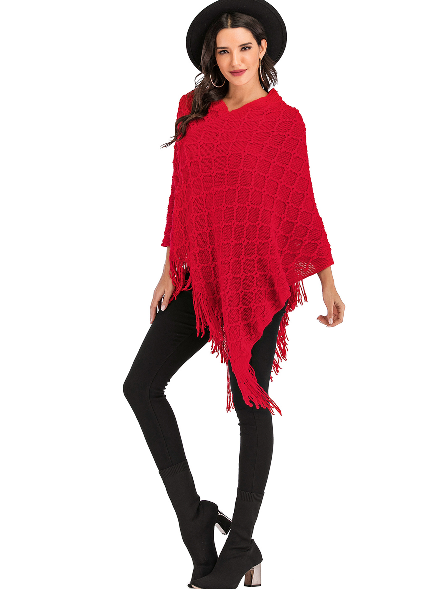 Womens Coller High Neck Shawl Wrap Cable Knitted Sweater Jumper Ladies Poncho