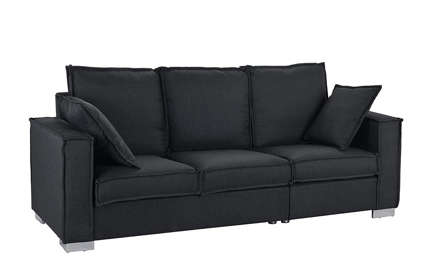 Exceptionnel Classic Linen Fabric Sofa, Living Room Couch (Black)