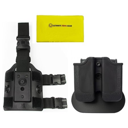 Imi Defense Z2030 Mp03 Double Mag Pouch 360  Rotate Holster Magnum Baby Eagle  9 40   Ruger P89 P95  Black   Z2200 Drop Leg Platform   Ultimate Arms Gear Cloth