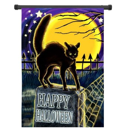 12.5'' x 18'' 30x45cm Cat On Headstone Halloween Garden Flag Happy Halloween Garden Flag Trick-or-Treater for Kids Gift Home House Family Garden School Market Decoration House Flag - image 2 of 4