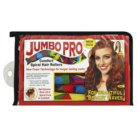 Jumbo Pro Comfort Curlers- no heat curlers, comfortable enough for sleeping. No Drop Curls- larger than original (Best Curlers For Big Curls)