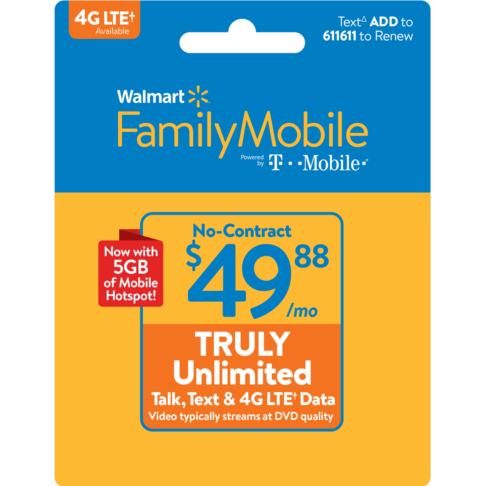 Walmart Family Mobile $49 88 TRULY Unlimited Monthly Plan & 5GB of mobile  hotspot included (Email Delivery)