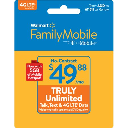 Walmart Family Mobile $49.88 TRULY Unlimited Monthly Plan & 5GB of mobile hotspot included (Email