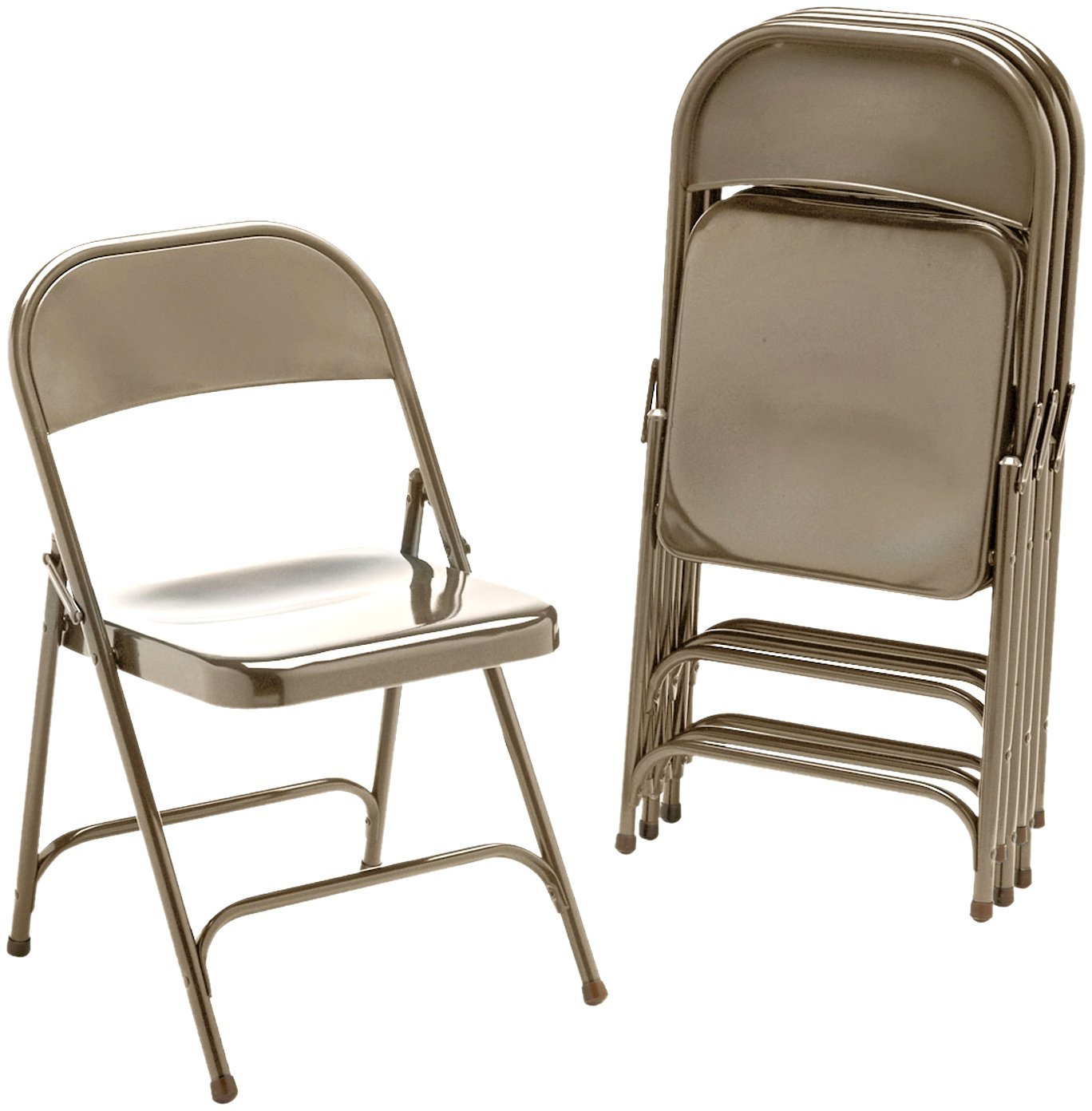 Gentil Virco 16213M Metal Folding Chairs, Mocha, Four/carton   Walmart.com