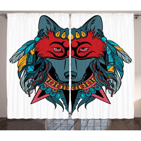 Native American Spirit Masks (Tribal Curtains 2 Panels Set, Indian Warrior Wolf Portrait with Mask Feathers Native American Animal Art, Window Drapes for Living Room Bedroom, 108W X 84L Inches, Teal White and Red,)