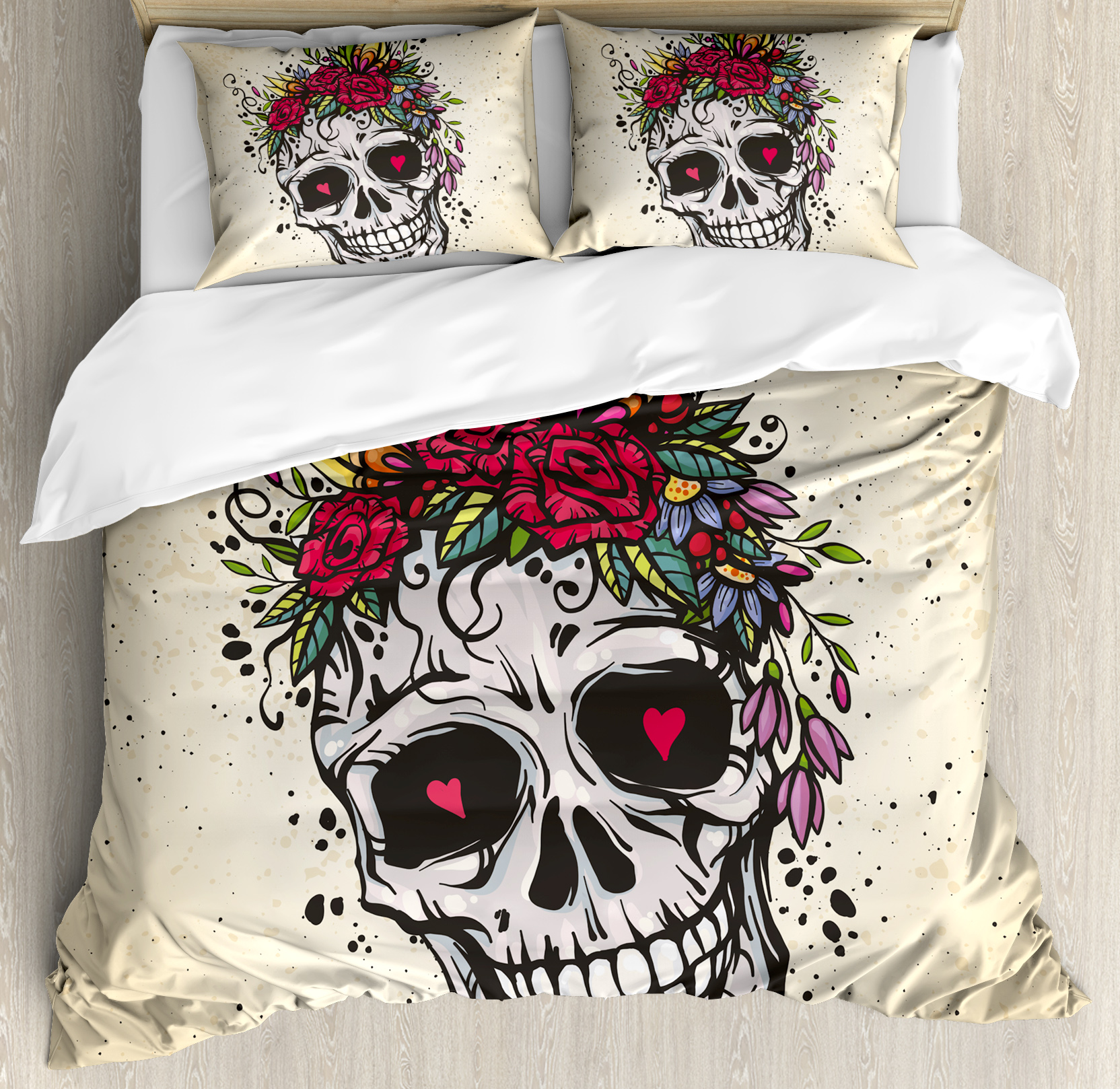 Sugar Skull Decor King Size Duvet Cover Set, Human Skull With Wreath Of  Roses And