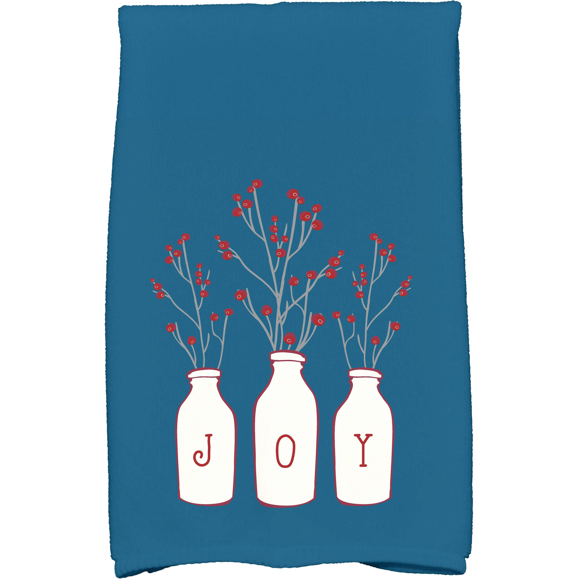 "Simply Daisy 16"" x 25"" Joy Holiday Floral Print Kitchen Towel"