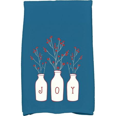 "Simply Daisy 16"" x 25"" Joy Holiday Floral Print Kitchen Towel"