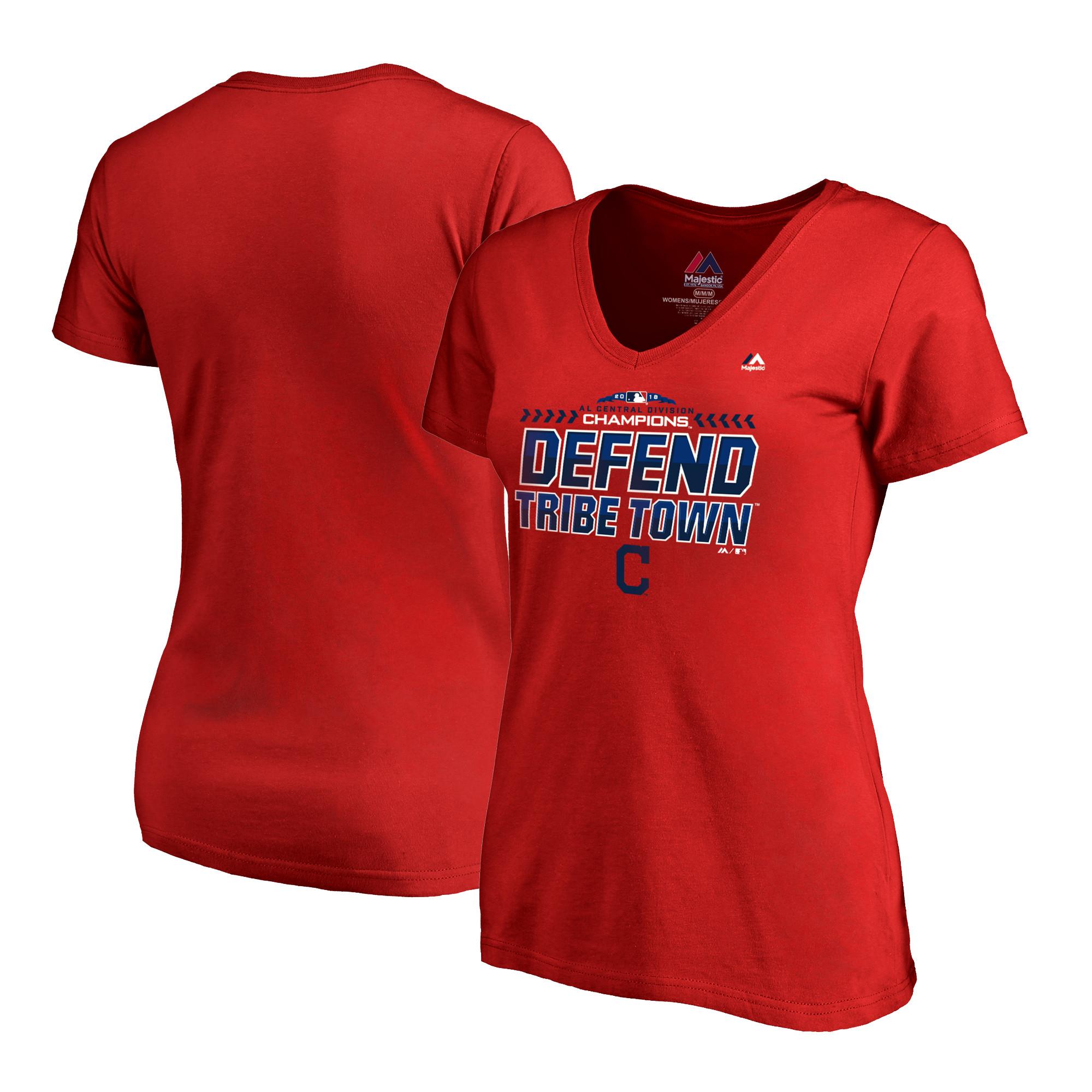 Cleveland Indians Majestic Women's 2018 AL Central Division Champions Locker Room Defend Plus Size V-Neck T-Shirt - Red