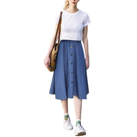 Women Button Denim Jeans Swing Skirt Ladies Elastic High Waist Casual Midi Skirt Casual Calf Length Girls Pleated Skirts