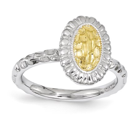 Sterling Silver Stackable Expressions Gold-plated Oval Ring Size 5 - image 2 of 3