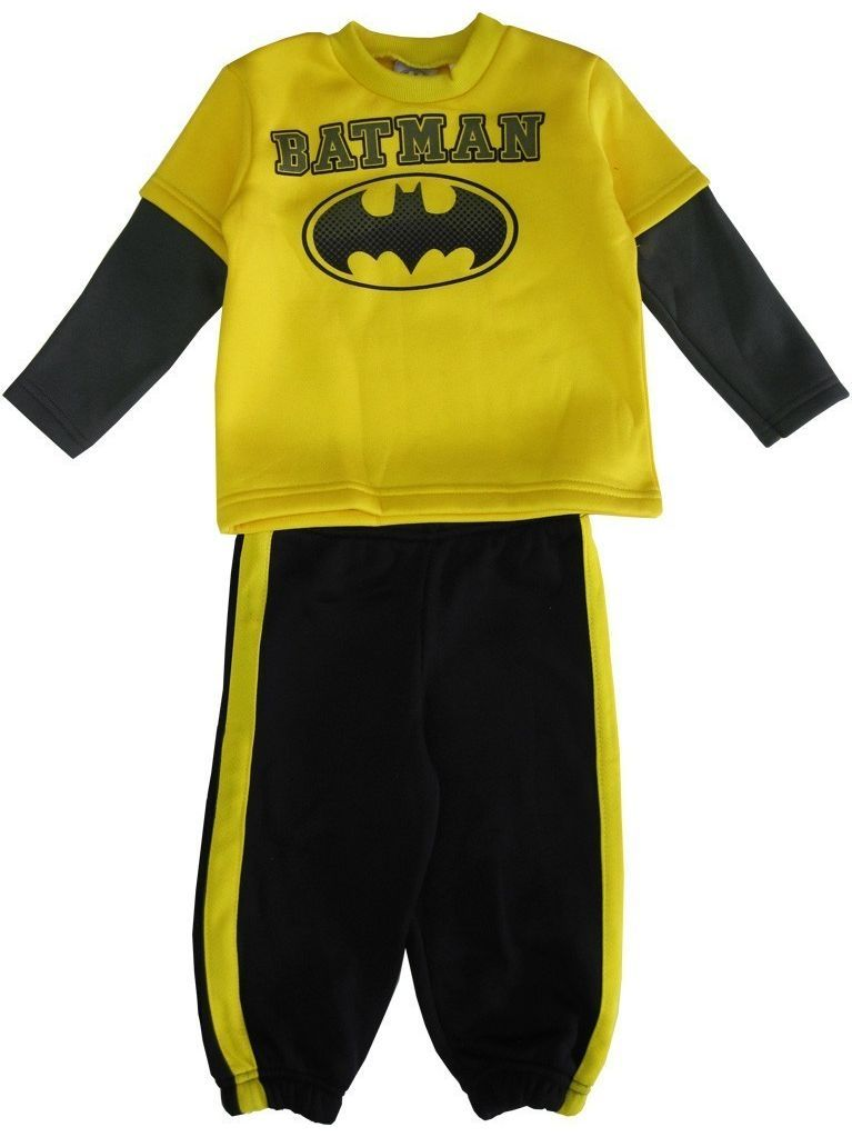 DC Comics Little Boys Yellow Black Batman Logo Sweater 2 Pc Pant Set
