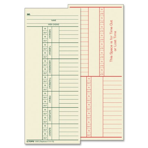 """Tops 2-sided Weekly Time Card - 8.25"""" X 3.37"""" Sheet Size - Manila - 500 / Box (TOP1260)"""