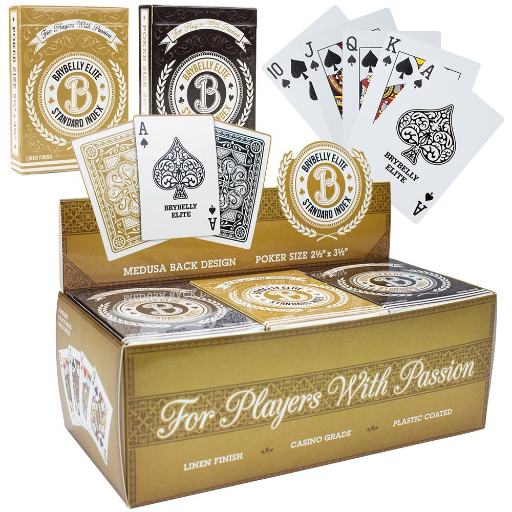 Brybelly Elite Medusa Back Casino-Quality Playing Cards, Wize Size Regular Index, 12-Deck Assortment (Black... by Brybelly