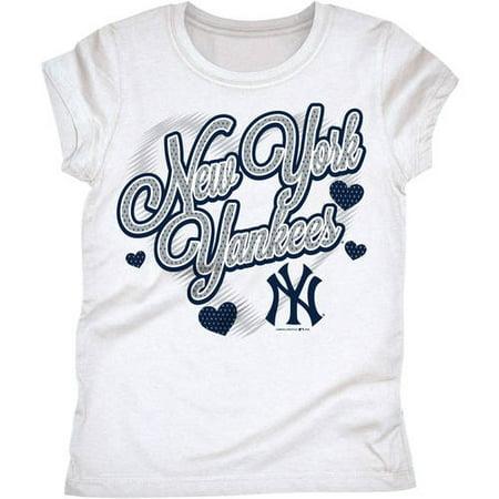 MLB New York Yankees Girls Short Sleeve White Graphic (All Girl Sleepaway Camps In New York)