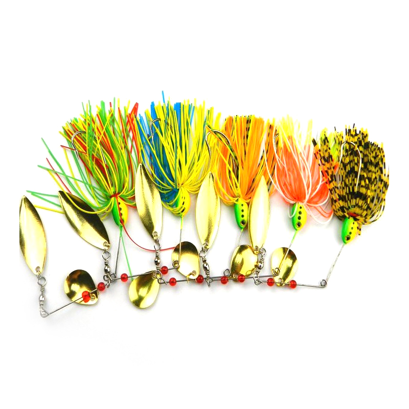 Fishing Hard Spinner Lure Spinnerbait Buzzbait Pike Bass 16.3g 5pcs Set by