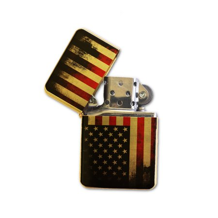 KuzmarK Gold Windproof Flip Top Lighter -  American (American Lighter)