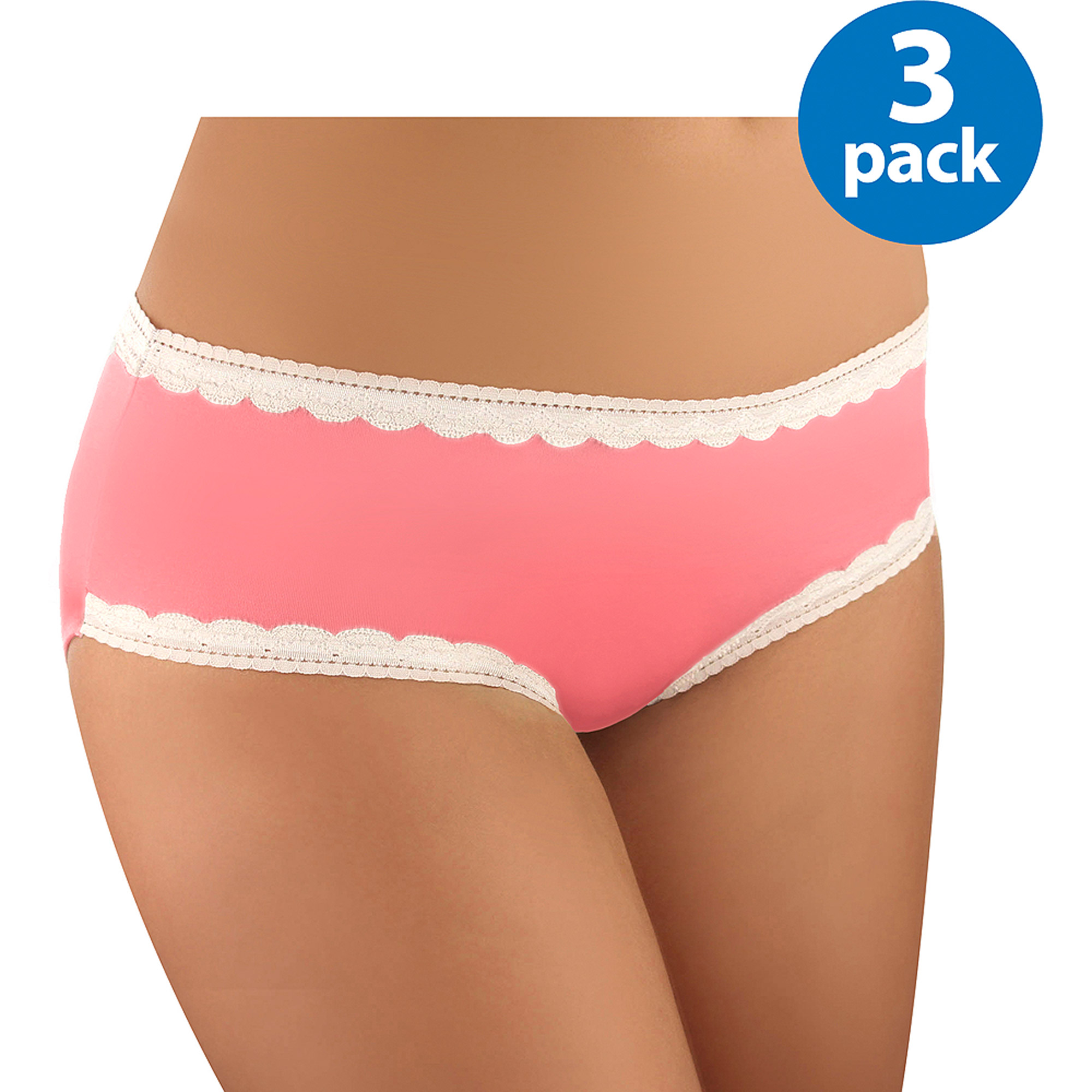 Women's Microfiber w/Lace Hipster, 3-Pack