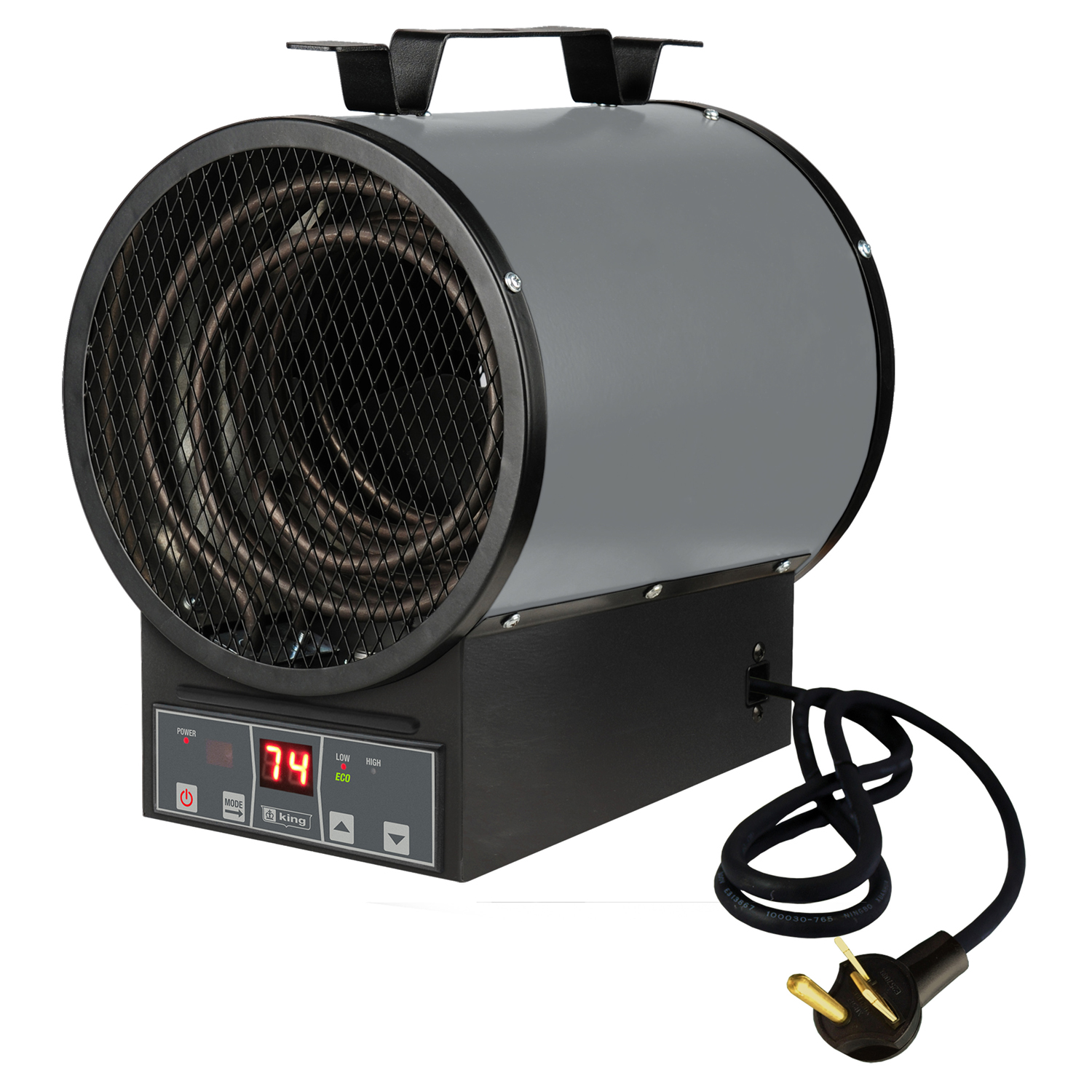 King Electric 240 Volt 4800 Watt Portable Garage Heater With Electronic Control Remote and Bracket, Gray and Black