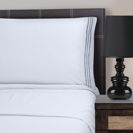 - Superior Light Weight and Super Soft Brushed Microfiber, Wrinkle Resistant Sheet Set with 3-Line Embroidery
