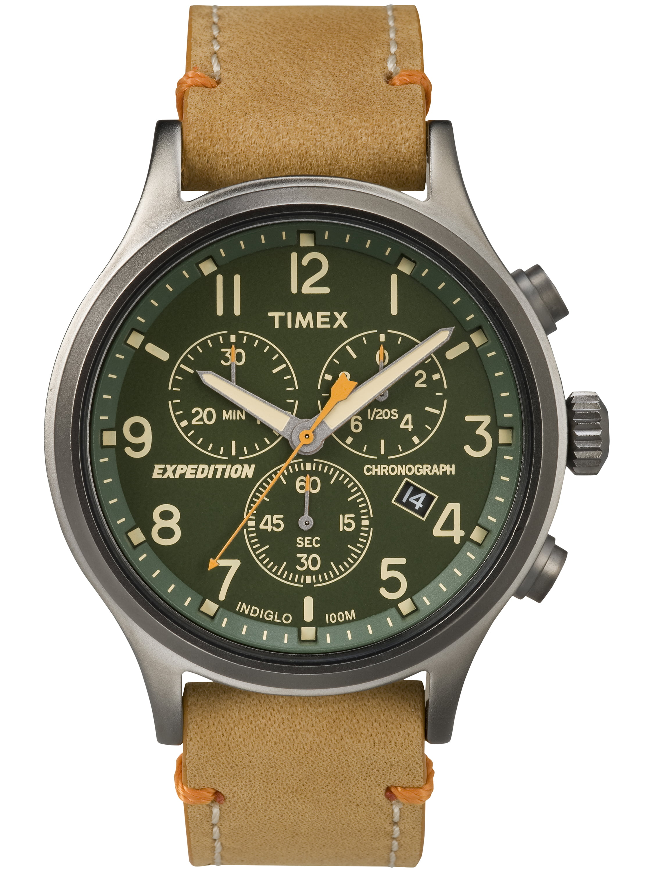 Timex Men's Expedition Scout Chrono Watch, Tan Leather Slip-Thru Strap by Timex