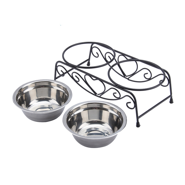 Walfront Stainless Steel Double Feeding Bowls Cats Dog Pet Water Food Feeder Dish With Retro Iron Stand Pet Food Bowl