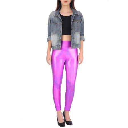6e8a710859c14 HDE Women's Shiny Holographic Leggings Liquid Metallic Pants Iridescent  Tights (Pink, ...