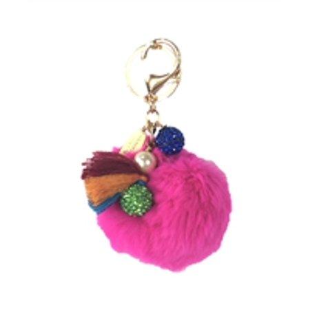 Lenora Dame - Lenora Dame Fur Pom Pom Purse Charm Keychain FOB ... a8e65394e07d