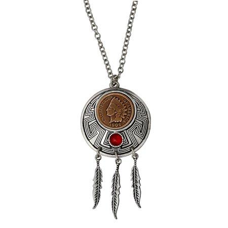 American Coin Treasures Indian Cent Carnelian Dream Catcher Coin Pendant - Silver