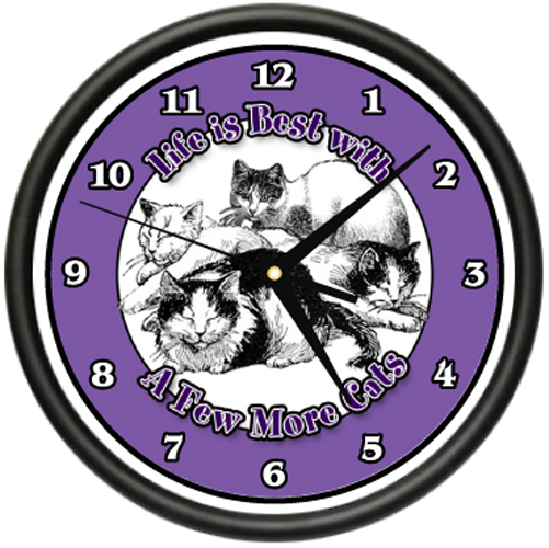 CAT LADY Wall Clock cats kitty pussy cat collector rescue lover save gag gift
