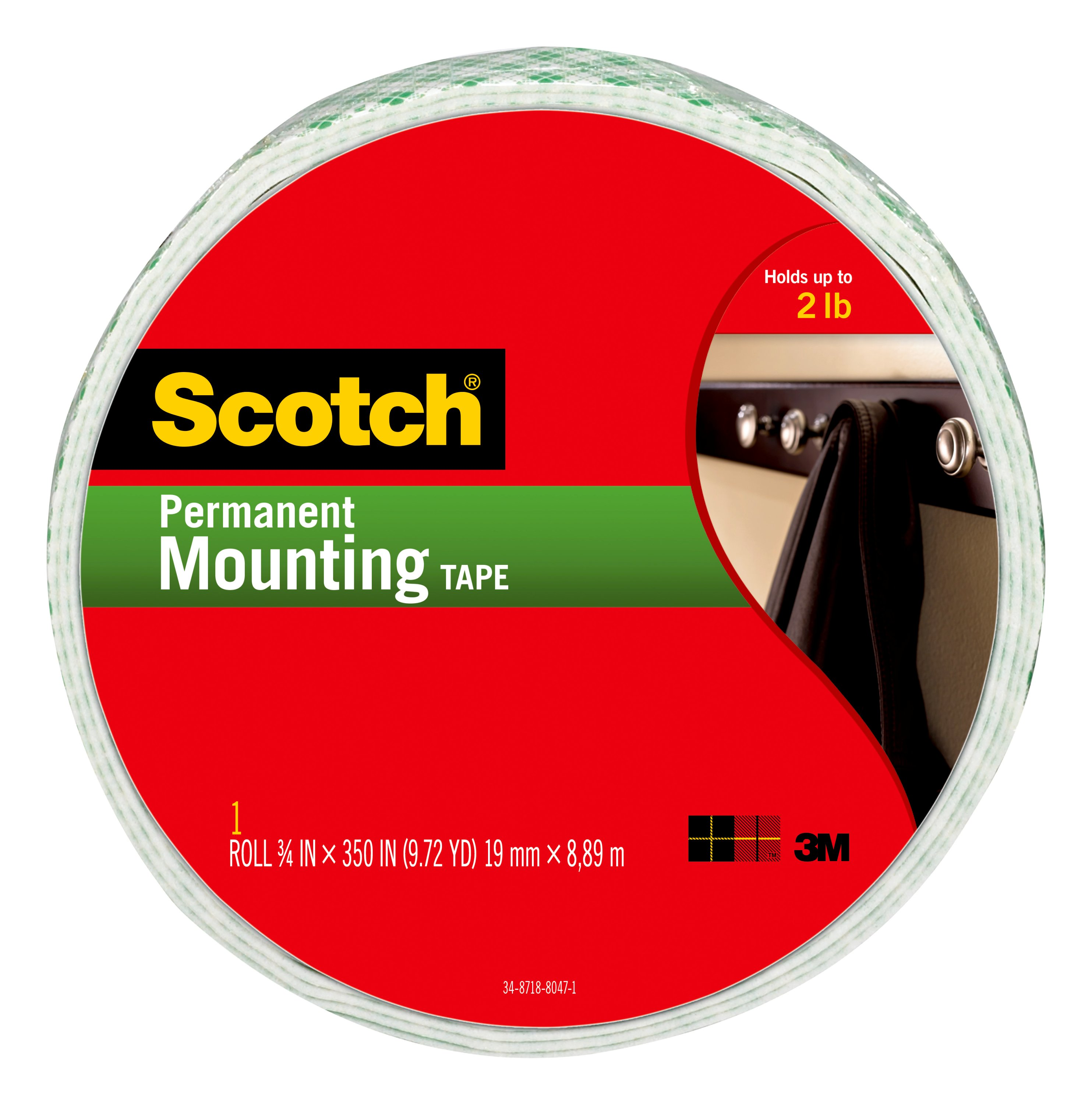 Scotch Indoor Mounting Tape, 0.75 in. x 350 in., White, 1 Roll/Pack