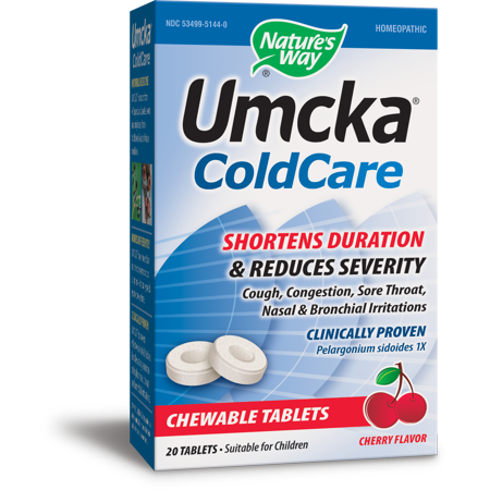 - Nature's Way Umcka ColdCare, Shortens and Reduces, Cherry Flavored, 20 Chewables