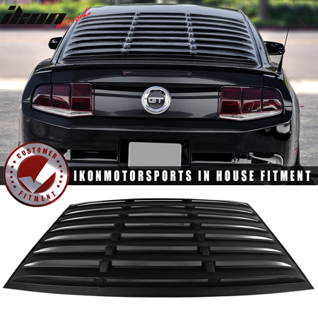 Fits 05-14 Ford Mustang GT V6 V8 Window Louver Rear Cover Matte Black (Ford Mustang Tinted Glass Window)