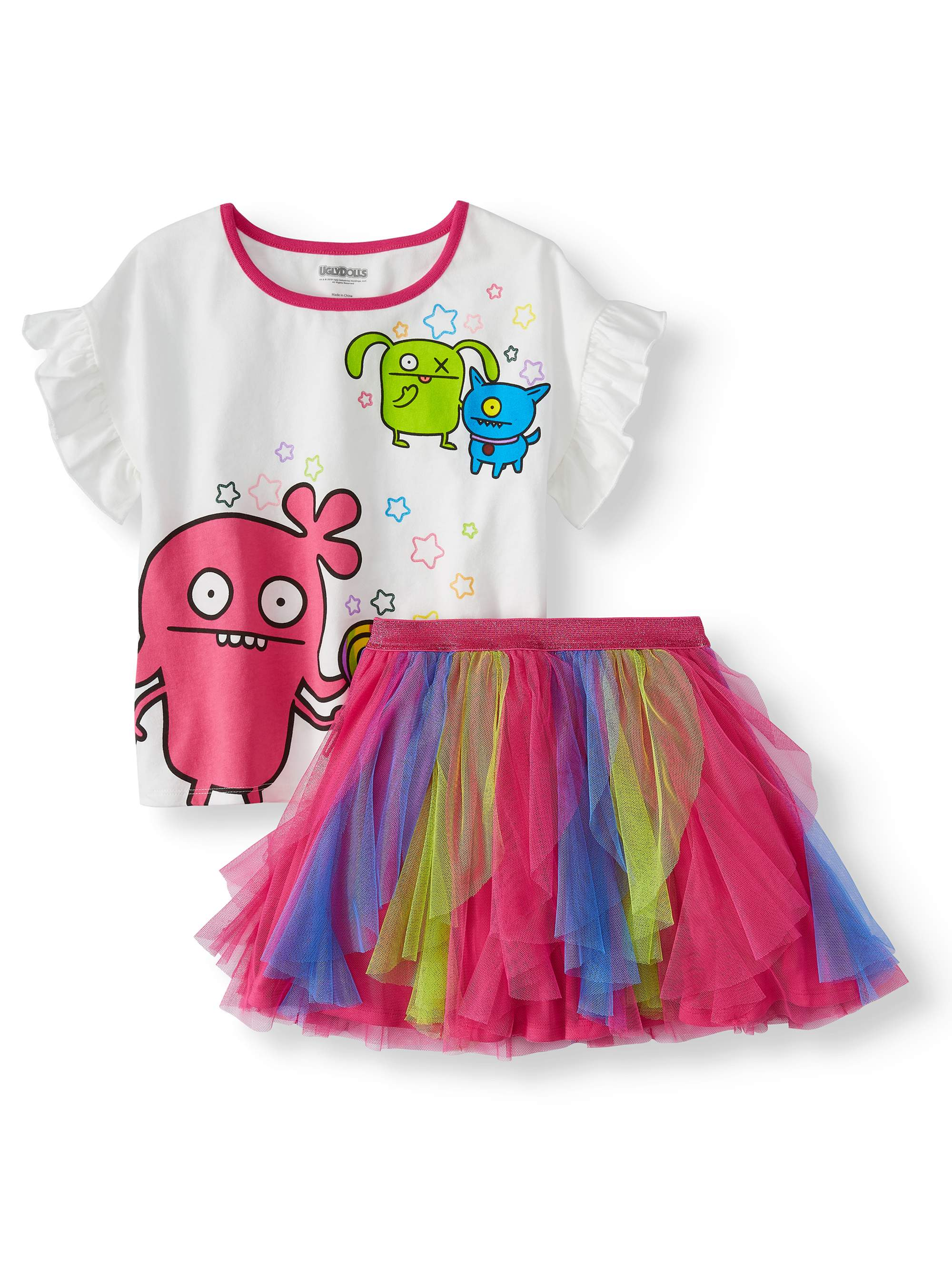 117ea65bf Ugly Dolls - Ruffled Tee and Colorblock Tulle Mesh Tutu Skirt, 2-Piece  Outfit Set (Little Girls & Big Girls) - Walmart.com