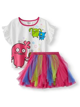 86425d740b Product Image Ruffled Tee and Colorblock Tulle Mesh Tutu Skirt, 2-Piece  Outfit Set (Little