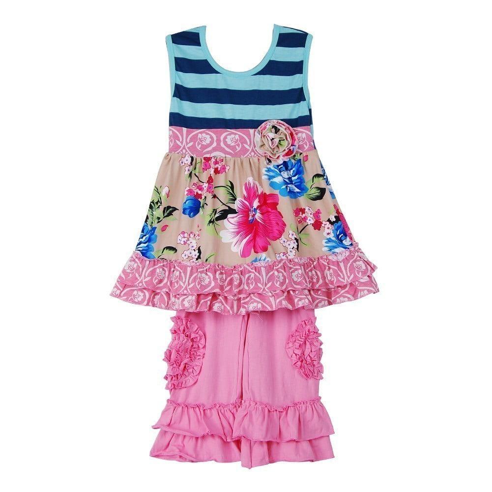 Freckles + Kitty Girls Blue Pink Stripe Floral 2 Pc Capri...