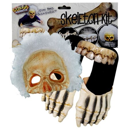 Billy Bob Skeleton Kit Sandals Teeth Afro Mask Adult Halloween Costume (Teeth Skeleton)