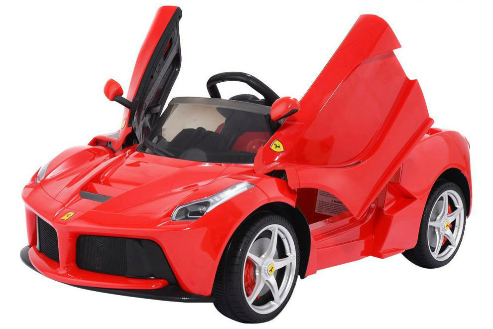 LaFerrari Licensed Ride On Ferrari electric 12V power car Toy For Kids with  Remote Control butterfly doors LED lights mp3 player , Red