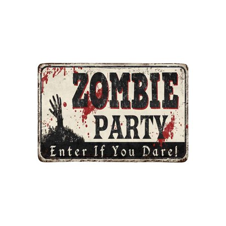 MKHERT Zombie Party Vintage Rusty Metal Sign Halloween Theme Doormat Rug Home Decor Floor Mat Bath Mat 23.6x15.7 inch - Halloween Theme Heavy Metal