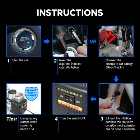 Audew Portable Air Compressor Pump Tire Inflator Pump Dual Cylinder + Gauge 12V 150 PSI Tire Pump for Car, Truck, Bicycle, and Other Inflatables - image 2 de 10