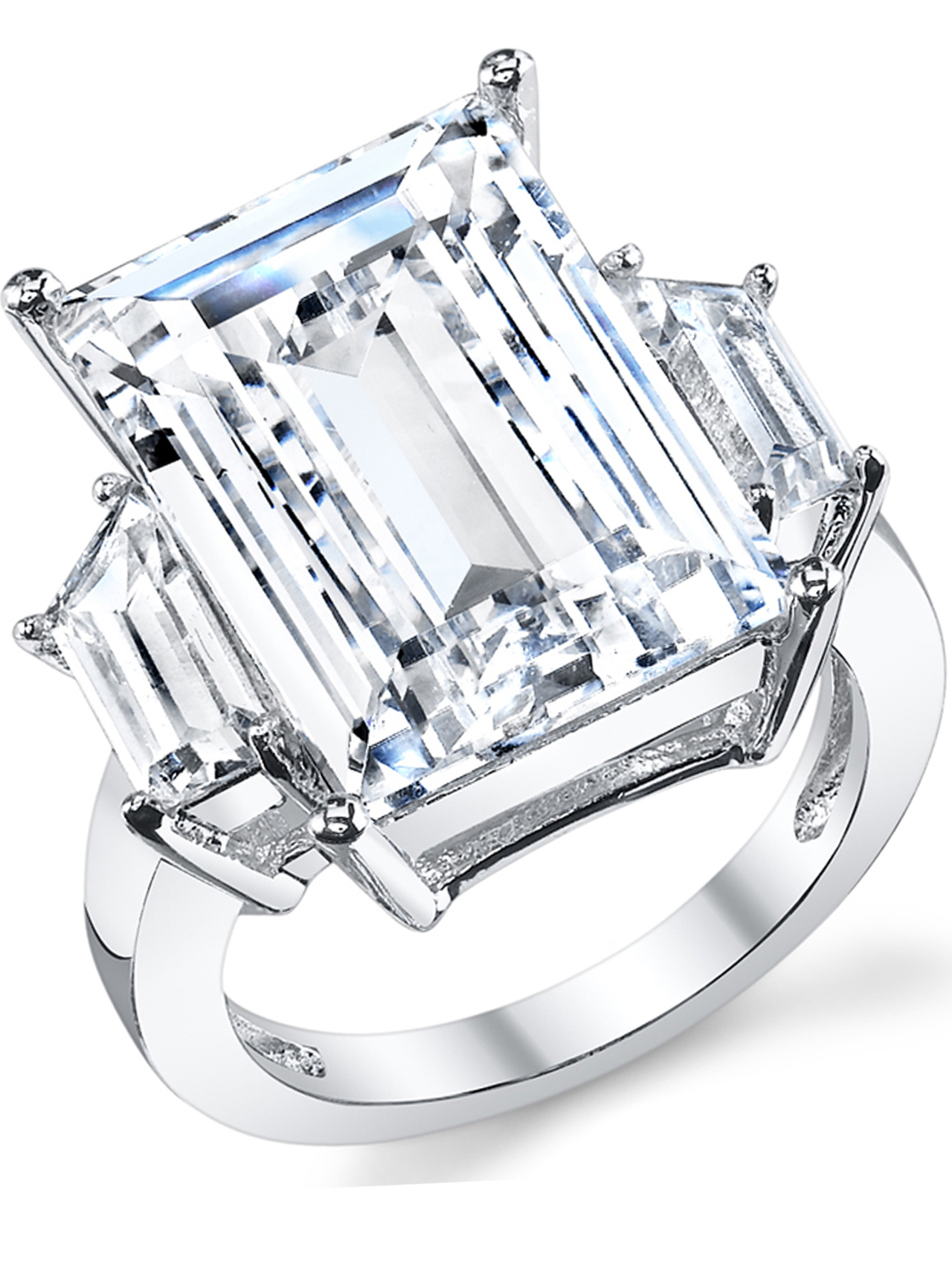Princess Kylie Pave Sides Rectangular Center Cubic Zirconia Ring Rhodium Plated Sterling Silver