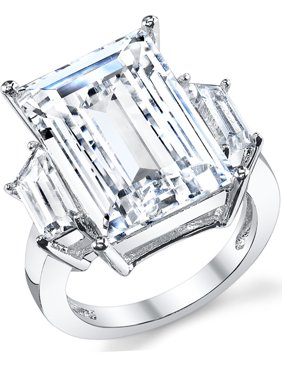 Women's Kim Kardashian Sterling Silver 9Ct. Engagement Wedding Ring Emerald-Cut Cubic Zirconia