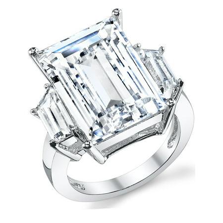 Marquise Cut Emerald (Kim Kardashian Sterling Silver Engagement Wedding Ring with Large Carat Emerald Cut Cubic Zirconia)