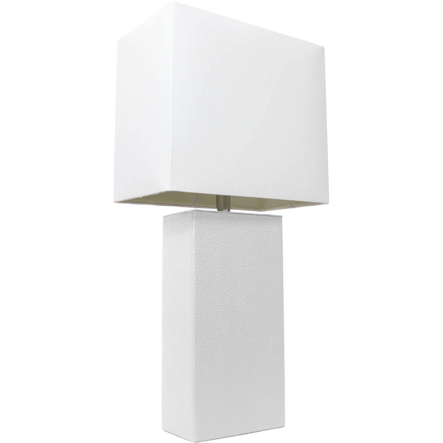 Elegant Designs Modern Leather Table Lamp With White Fabric Shade, White    Walmart.com