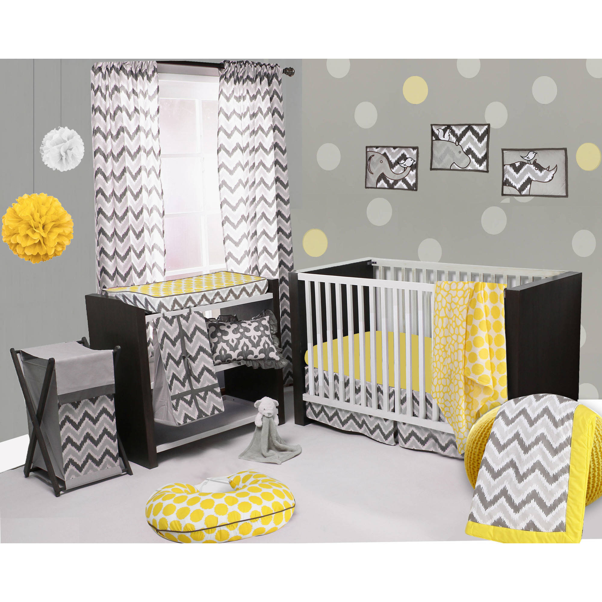 Bacati Ikat Yellow/grey Dots/giraffe 4 Crib Set with 2 Muslin Blankets