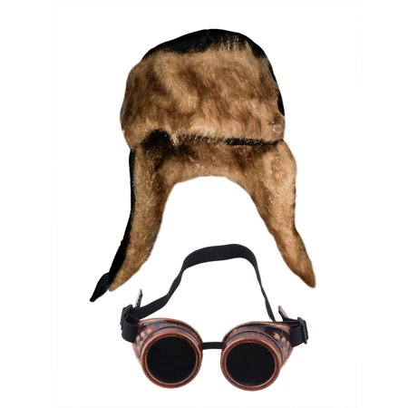 Aviator Soft Furry Bomber Hat And Copper Steampunk Goggles Costume - Aviator Goggles Costume