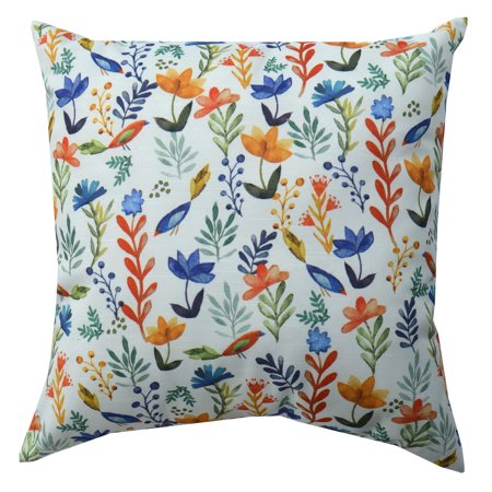 Mainstays Bird Floral Decorative Throw Pillow, 18