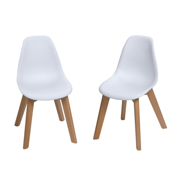Modern Kids Chairs with Beech Legs (Set of 2 White Chairs)