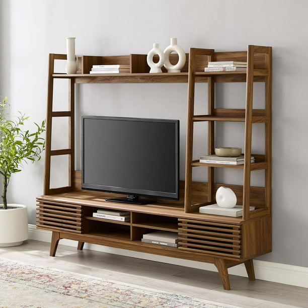 Modway Render TV Stand Entertainment Center in Walnut