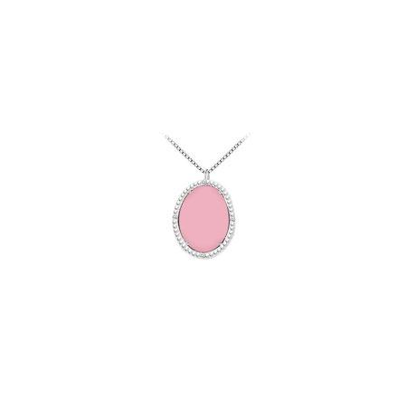 14K White Gold Pink Chalcedony and Diamond Pendant 15.08 CT TGW - image 2 de 2